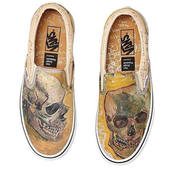 VANS X Vincent Van Gogh Museum Skull Slip on Sneaker Size 11